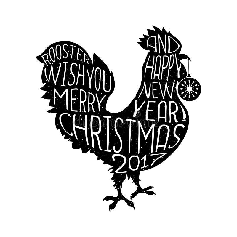 Desiderio del gallo pantaloni a vita bassa del buon anno e di Buon Natale disegnate il manifesto illustrazione di stock