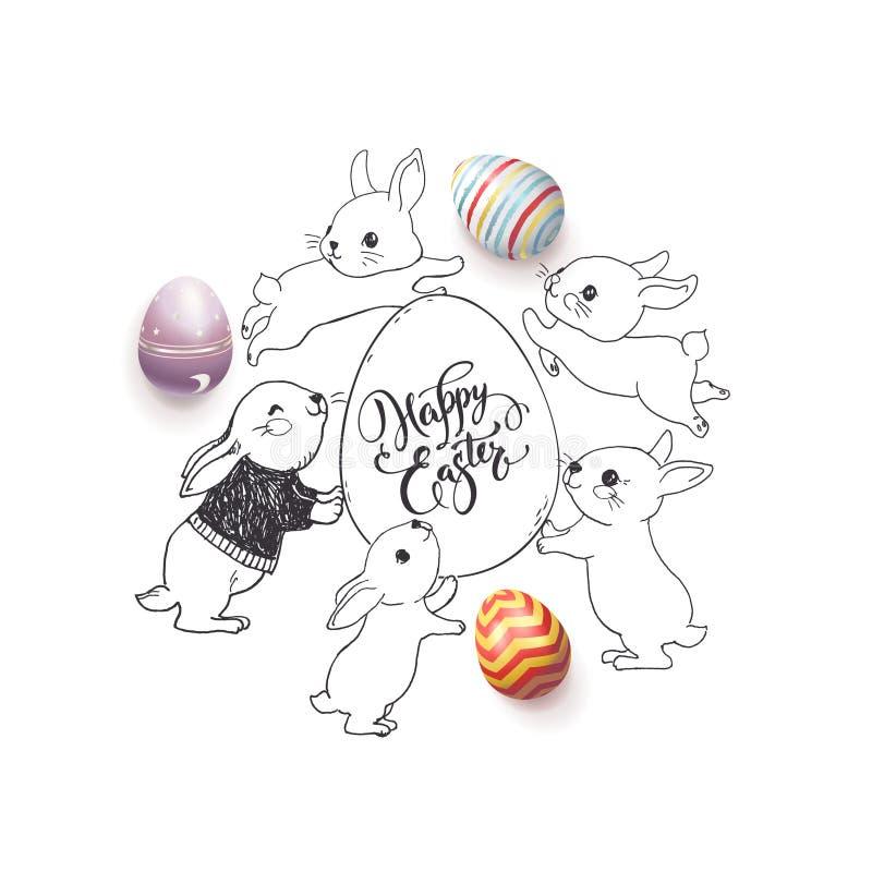 Desiderio felice disegnato a mano di Pasqua scritto a mano con la fonte calligrafica, le uova decorate variopinte ed i conigli sv royalty illustrazione gratis