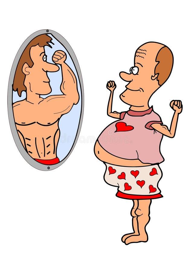 Desiderio grasso dell'uomo illustrazione di stock