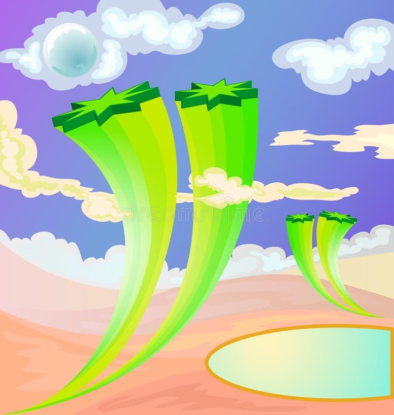 Desierto con el árbol de la estrella de la imaginación libre illustration