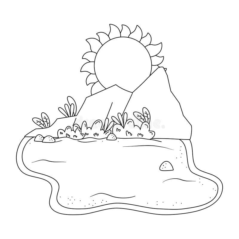 Desierto con las rocas y paisaje del sol en blanco y negro stock de ilustración