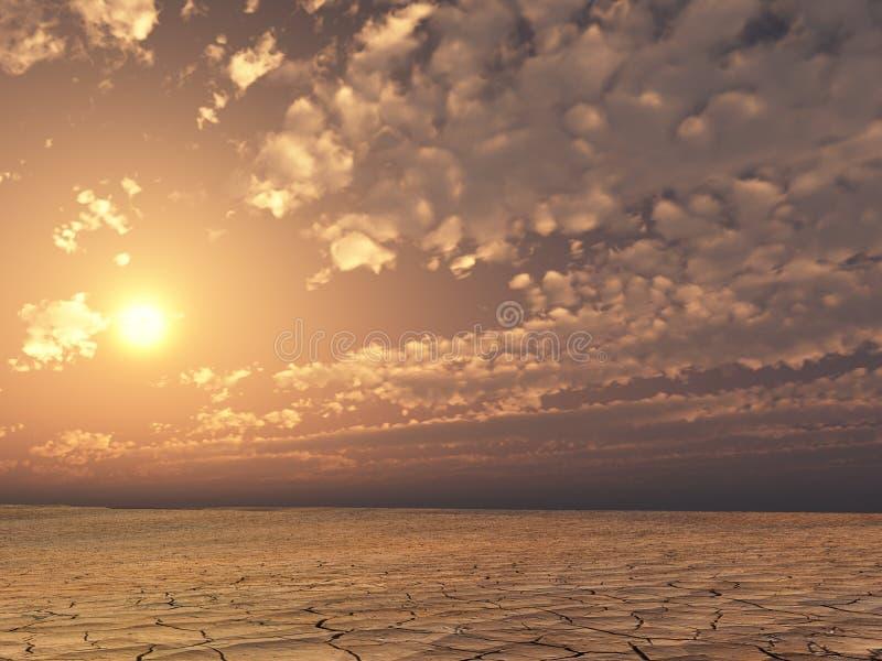 Desierto de la puesta del sol stock de ilustración
