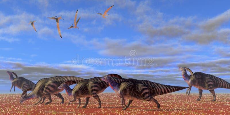 Desierto de Parasaurolophus imagen de archivo libre de regalías