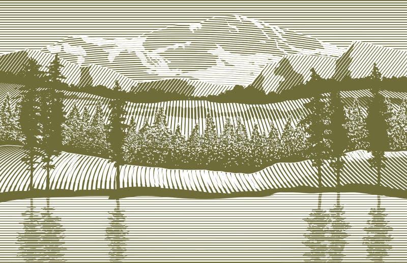 Desierto del grabar en madera stock de ilustración