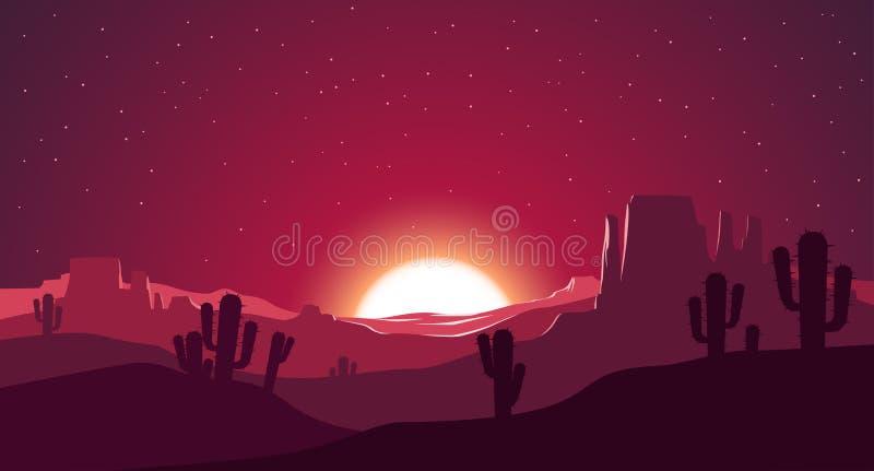 Desierto en el ejemplo de la puesta del sol ilustración del vector