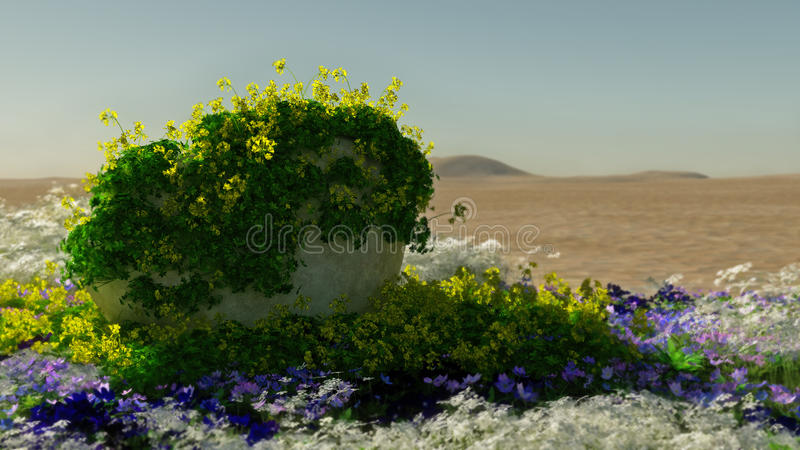 Desierto en la floración, 3d CG libre illustration