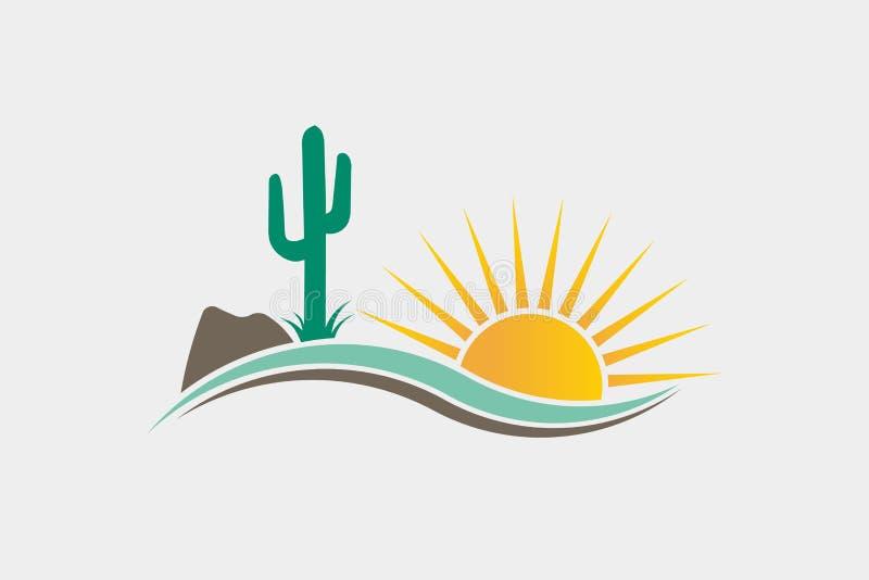 Desierto Logo Illustration occidental del cactus stock de ilustración