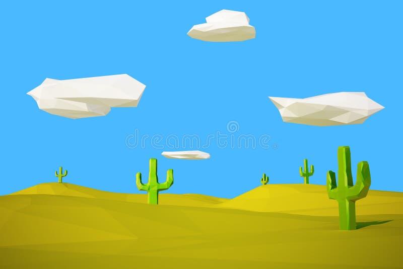 Desierto polivinílico bajo con el cactus libre illustration