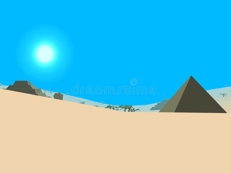 Desierto retro polivinílico bajo del estilo libre illustration