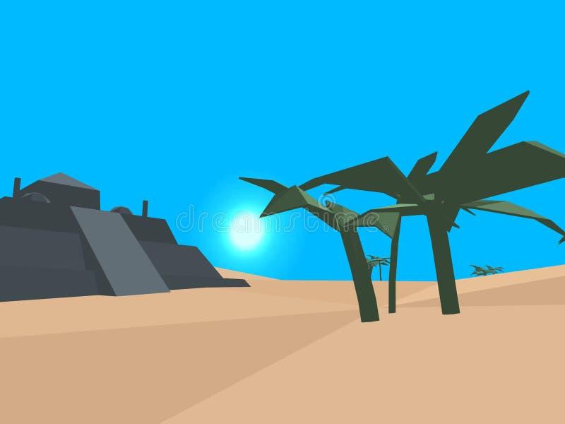 Desierto retro polivinílico bajo del estilo ilustración del vector