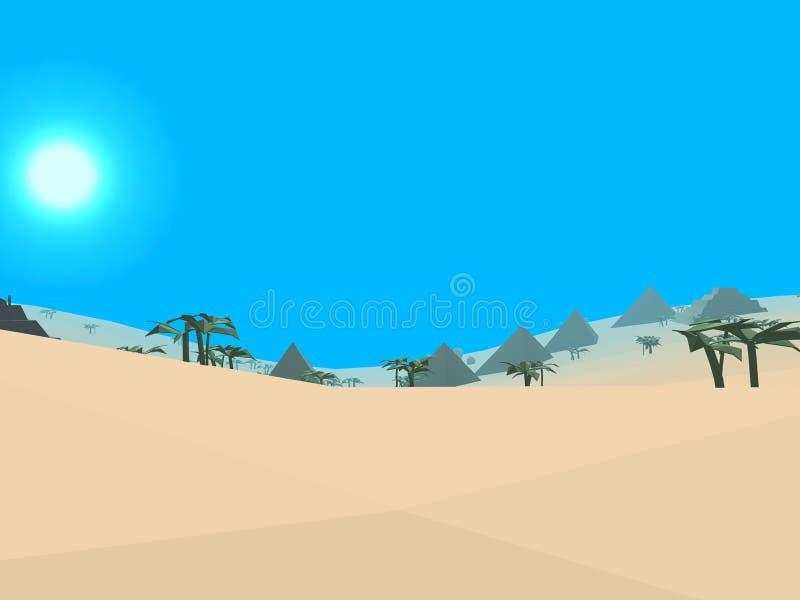 Desierto retro polivinílico bajo del estilo stock de ilustración