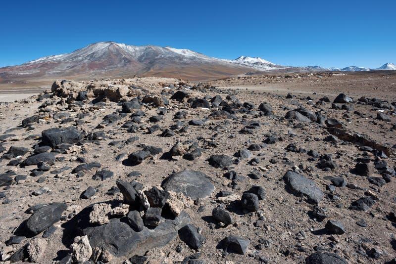 Desierto volcánico de Altiplano en Bolivia imagen de archivo libre de regalías