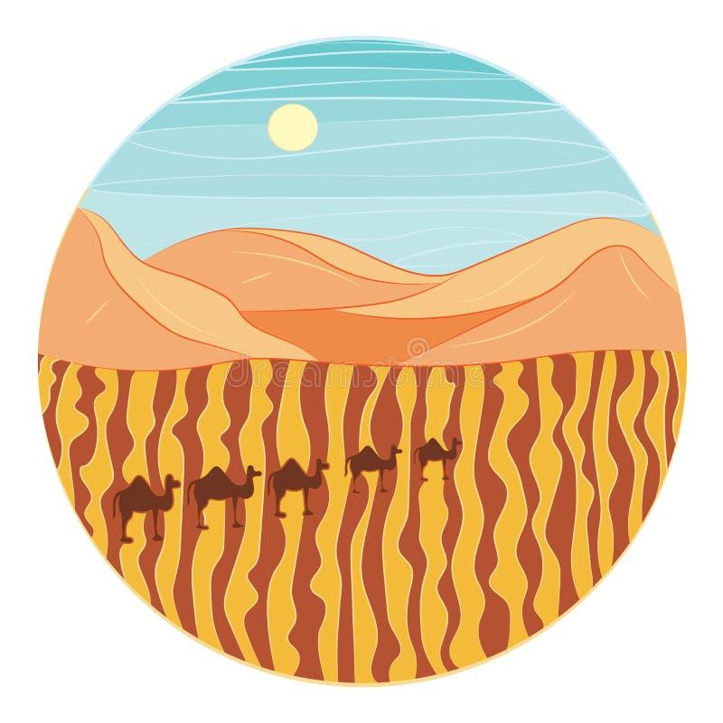 Desierto y caravana de camellos ilustración del vector