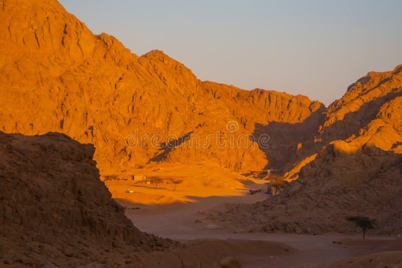 Desiertos y paisaje de las dunas de arena en la puesta del sol fotos de archivo libres de regalías