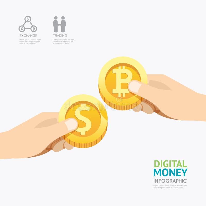 Desig шаблона денег cryptocurrency дела Infographic цифровое иллюстрация вектора