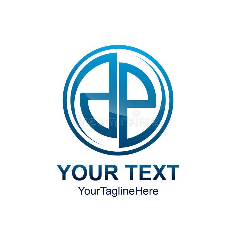 Desig azul de Swoosh del círculo coloreado de la plantilla del logotipo del DP de la letra inicial ilustración del vector
