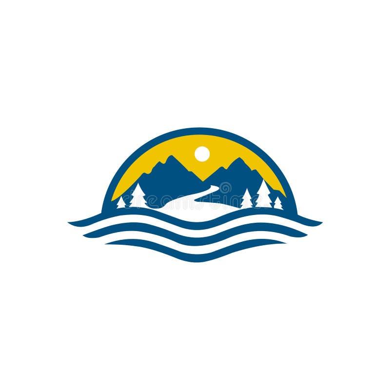 Desig da ilustração do ícone do vetor do molde do logotipo da montanha ilustração stock