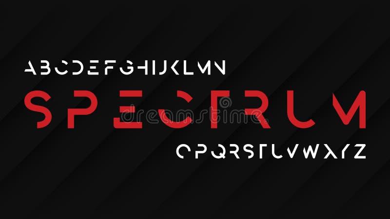 Desig decorativo futurista regular de la tipografía de sans serif del espectro stock de ilustración
