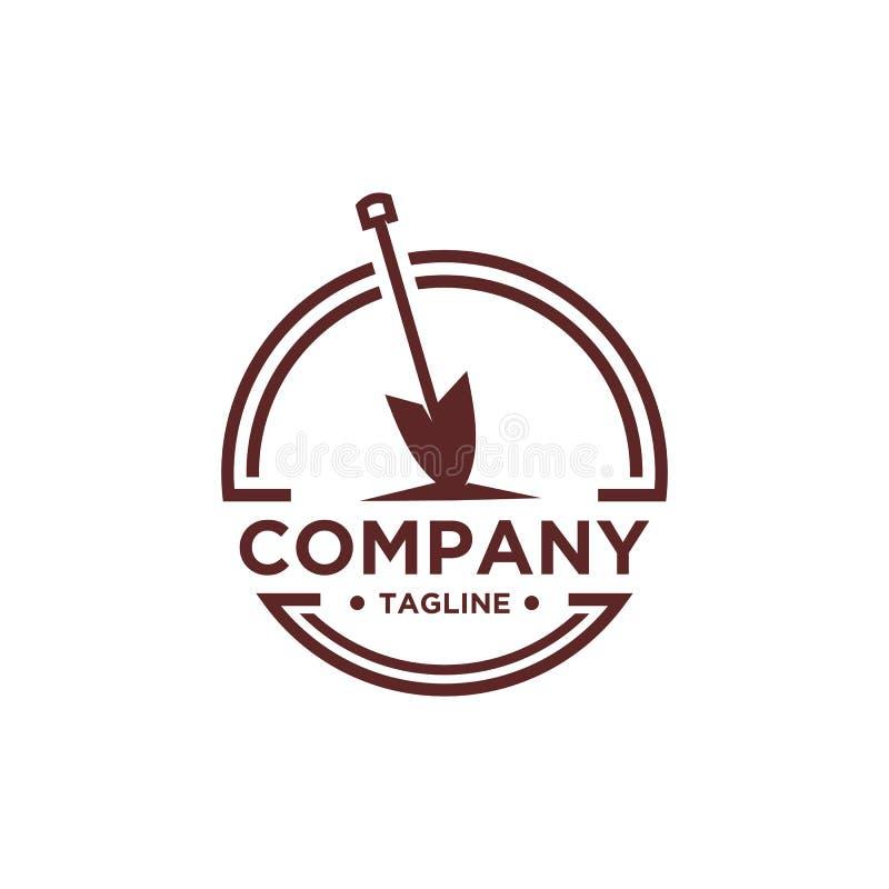 Desig do logotipo da pá ou da pá ilustração stock