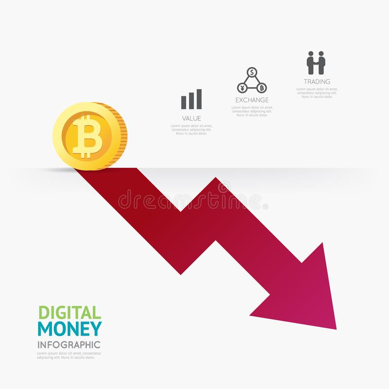 Desig för mall för pengar för cryptocurrency för Infographic affär digital royaltyfri bild