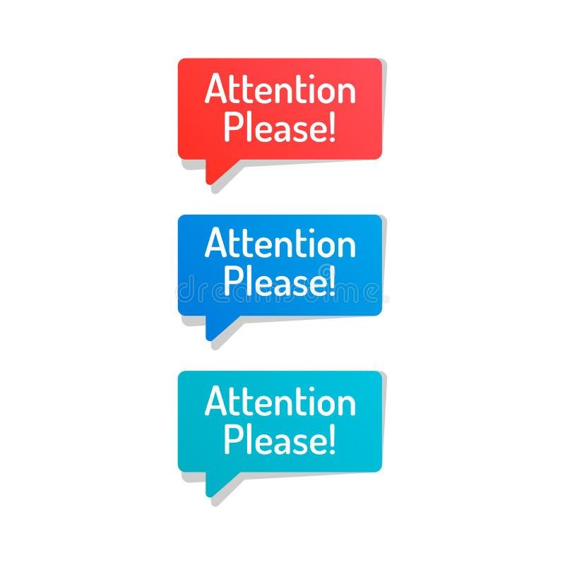 Desig plano del vector de la exclamación de la atención por favor del vector común del icono ilustración del vector