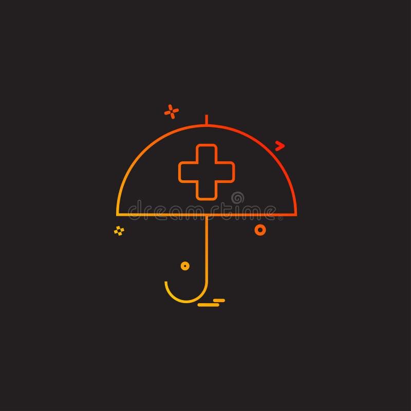 desige för vektor för symbol för paraply för hälsovårdsjukförsäkring medicinsk royaltyfri illustrationer
