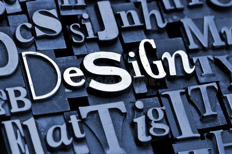 Design!. The phrase Design! done with random letterpress type on a random letter background