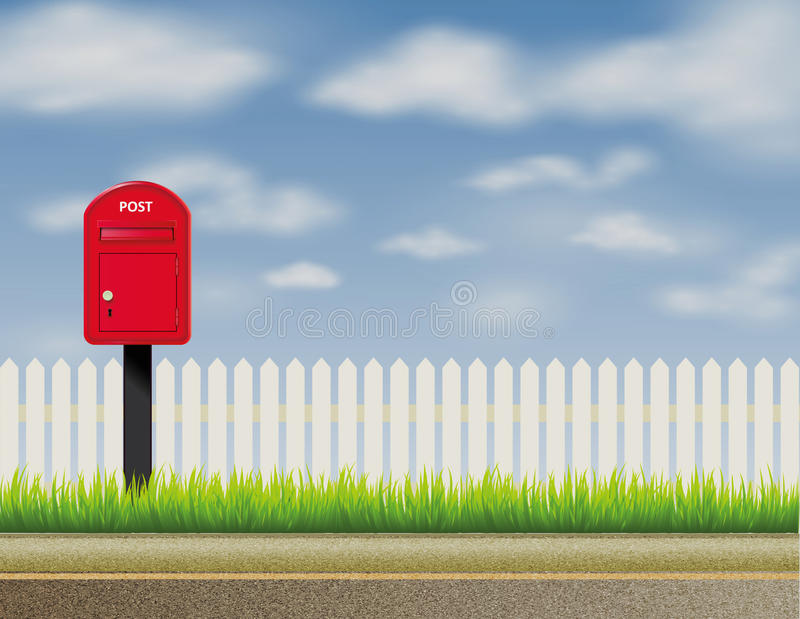 Design of abstract English, UK letter-box, mailbox stock illustration