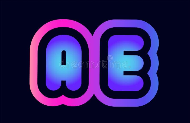 Ae a e pink blue gradient alphabet letter logo combination icon. Design of alphabet combination letter ae a e pink blue gradient color suitable as a logo for a vector illustration