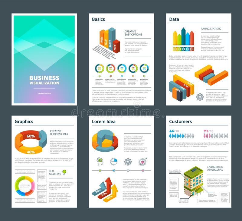 Design of annual reports with colored pictures of charts stock illustration
