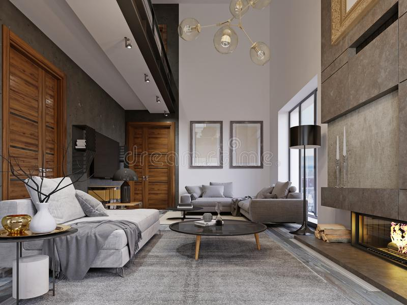 Design apartment in the style of a loft with a second tier. TV area with a sofa and couch. 3d rendering stock illustration
