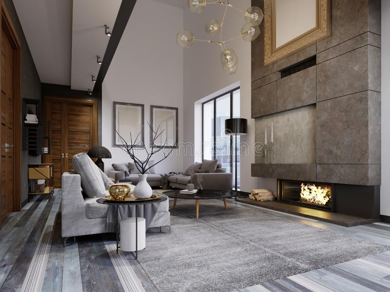 Design apartment in the style of a loft with a second tier. TV area with a sofa and couch. 3d rendering vector illustration
