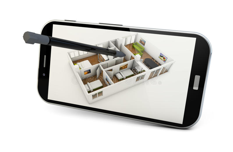 Design app. Concept: smartphone render with a house structure on the screen isolated on white background royalty free illustration