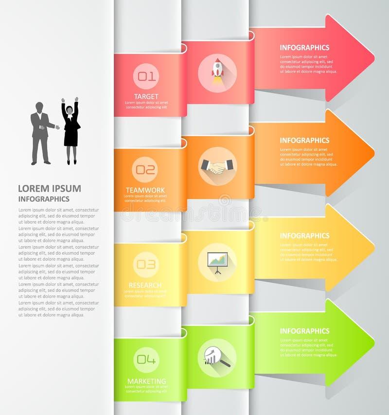 Design arrows infographics 4 steps. Vector illustration. royalty free illustration