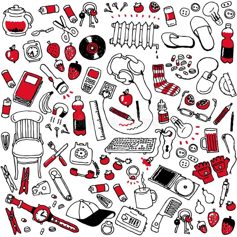 Design art random things seamless background. Cartoon design illustration of random assorted things seamless background stock illustration
