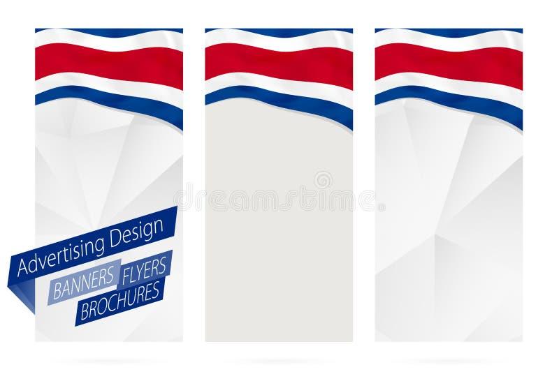 Design av baner, reklamblad, broschyrer med flaggan av Costa Rica vektor illustrationer