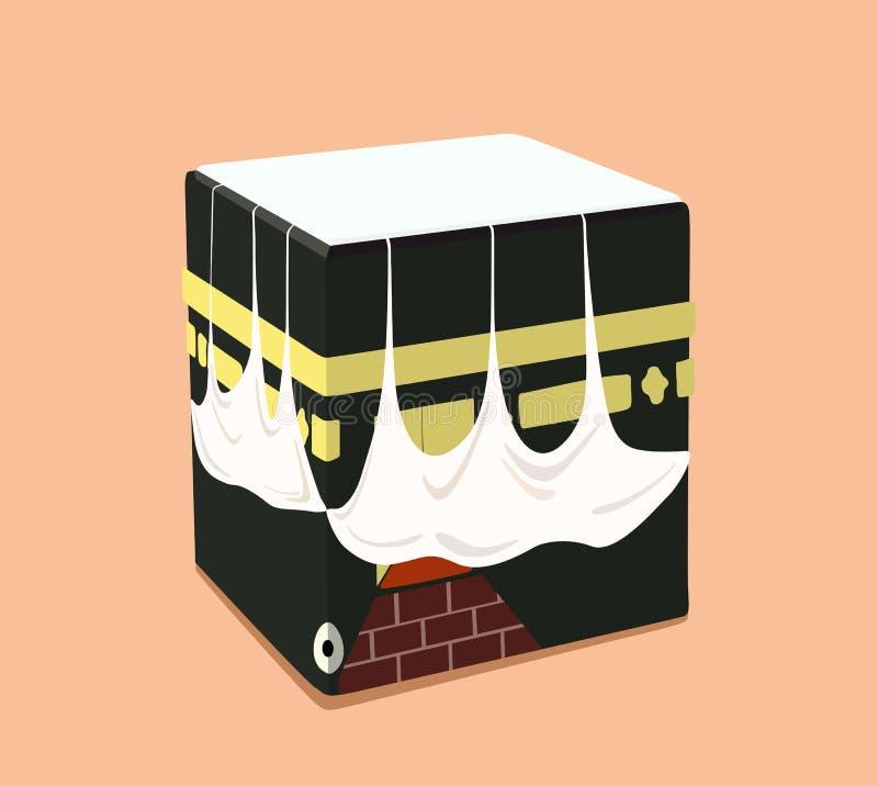 Design av den islamiska Kaabaen i en plan stil också vektor för coreldrawillustration royaltyfri illustrationer