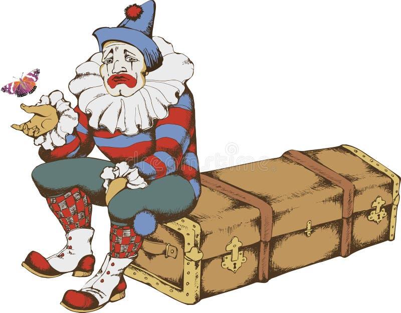Design av den ledsna clownen stock illustrationer