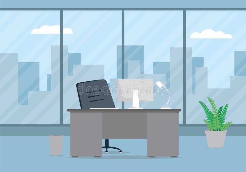 Design av den moderna kontorsformgivarearbetsplatsen royaltyfri illustrationer