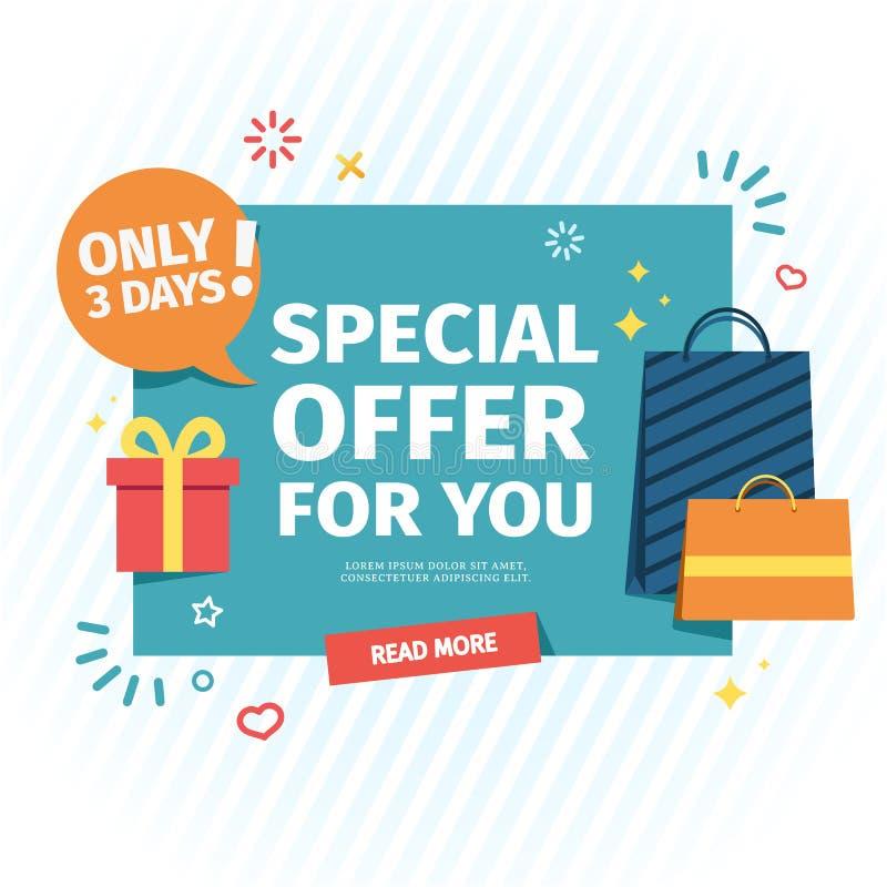 Design av ett plant baner för ett individuellt specialt erbjudande Ett försäljningskort för online-shopping med en dekor av gåvor vektor illustrationer