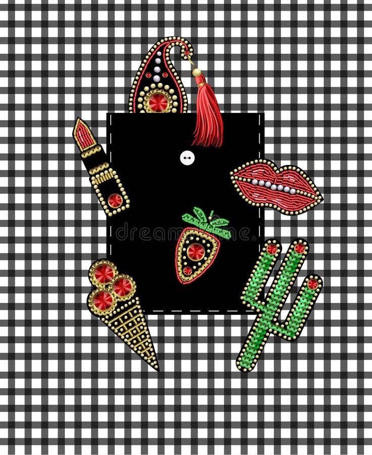 Design av facket av skjortan från lappar med broderipaljetter och pärlor Kaktus bär, paisley, läppstift, glassklistermärkear royaltyfri illustrationer