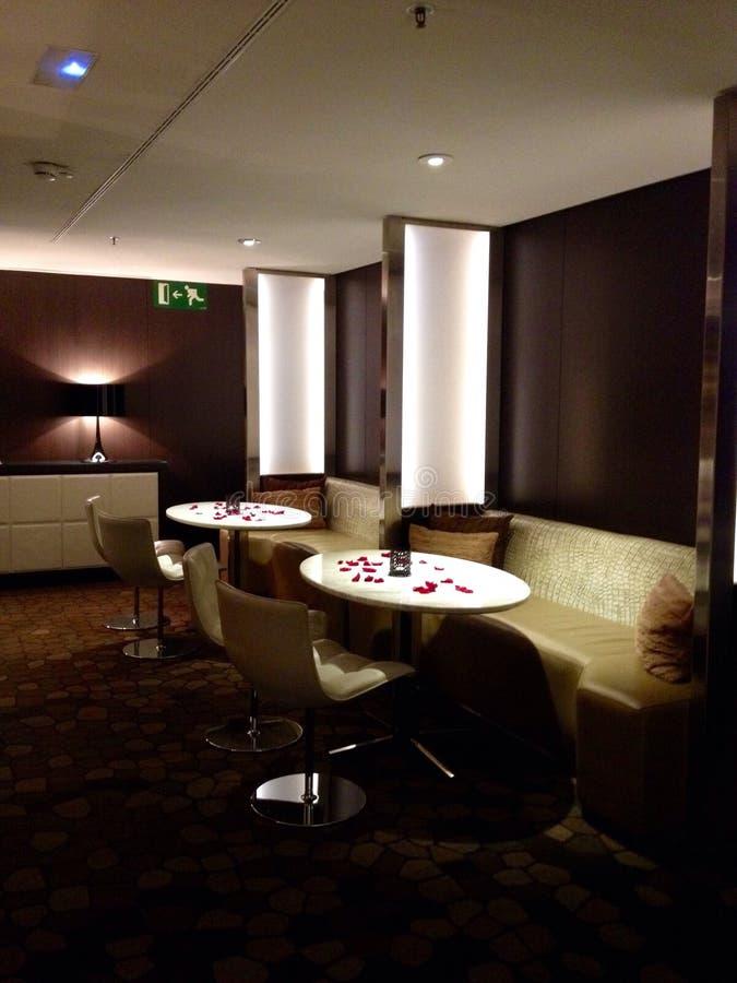 Design av hotelllobbyen i Barcelona, Spanien arkivbild