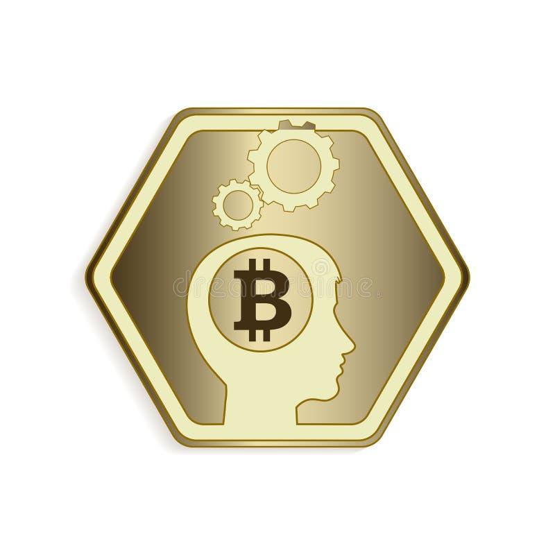 Design av konturn av det mänskliga huvudet med konturn av bitcointecknet royaltyfri illustrationer