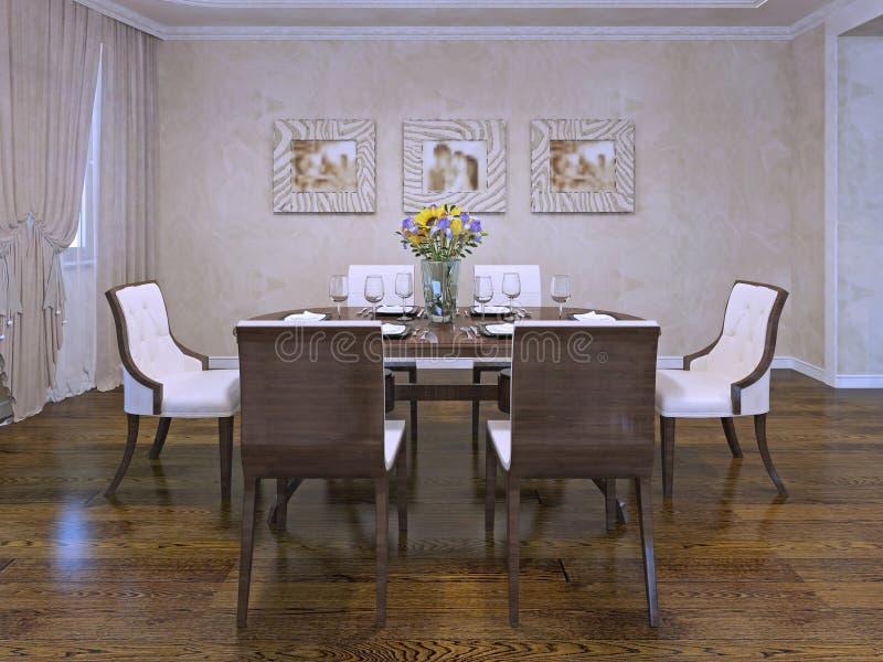 Design av matsal i privat hus royaltyfri fotografi