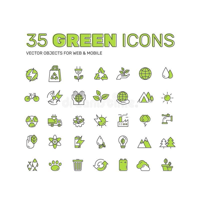 Design av miljön, förnybara energikällor, hållbar teknologi, återvinning, ekologilösningar stock illustrationer