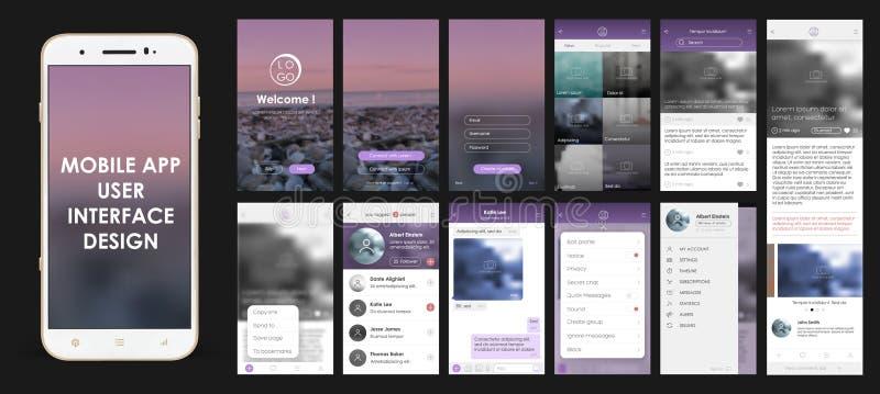 Design av mobila applikationer vektor illustrationer