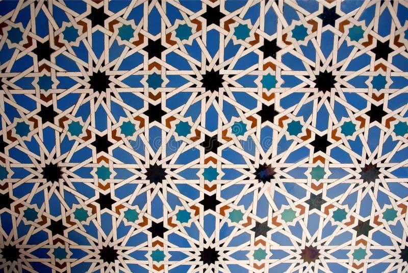 Design av tegelplattan för väggar av alcazaren, exempel av Mudejar garnering av det 14th århundradet, historisk kunglig slott arkivbild