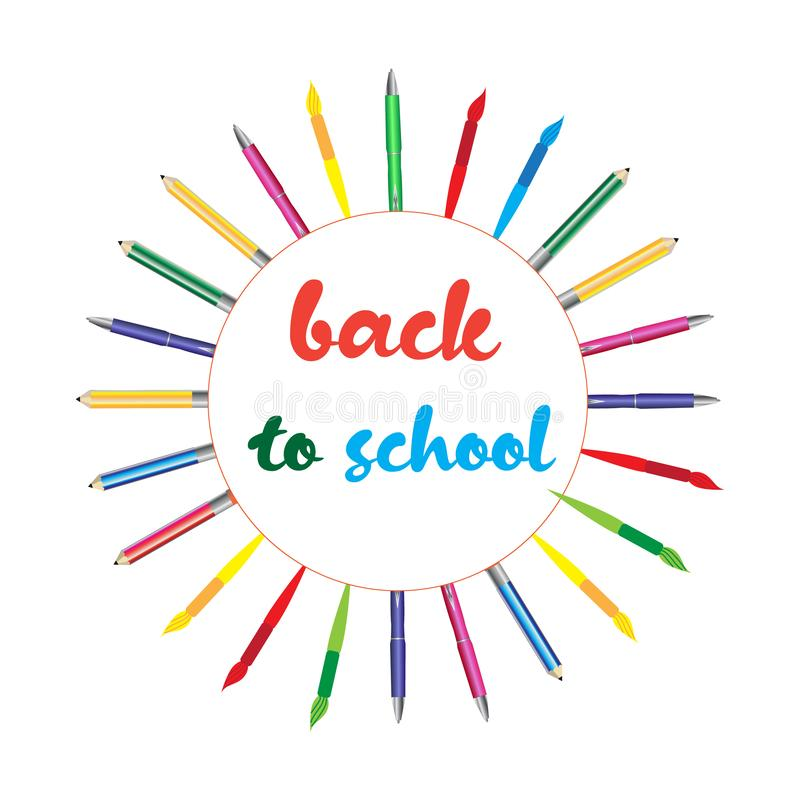 Design back to school vector illustration, icon, sticker royalty free stock images