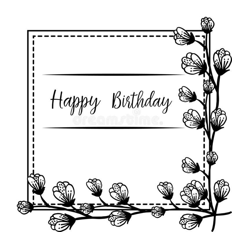 Design background happy birthday, for greeting card, with style unique floral frame. Vector. Illustration vector illustration
