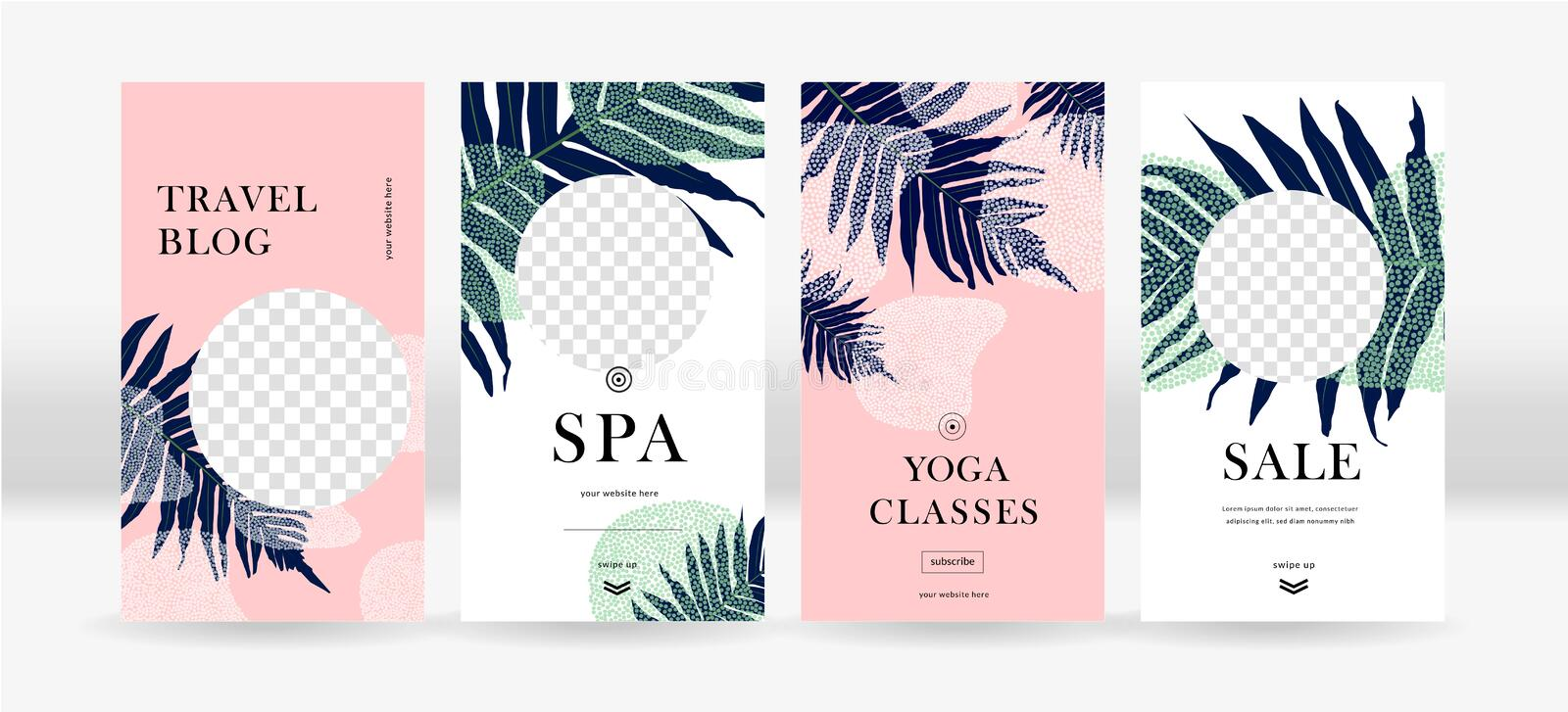 Design backgrounds for social media. Trendy tropical templates for social topical networks stories vector illustration